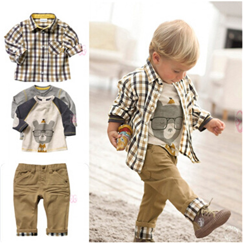 Retail fashion clothes set kids suits baby boys clothing sets 3pcs high quality plaid shirt+ hoodies + pants child free shipping kids clothing set plaid shirt with grey vest gentleman baby clothes with bow and casual pants 3pcs set for newborn clothes
