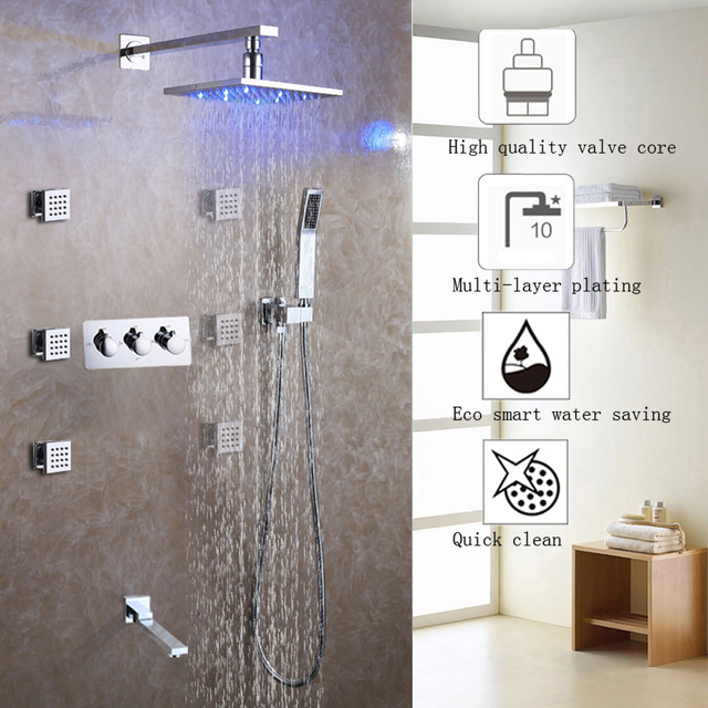 Bath Shower Faucet Set Easy Installation System Led Rain Head Hot And