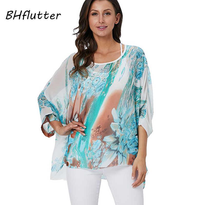 BHflutter 4XL 5XL 6XL בתוספת גודל נשים בגדים 2018 חולצה חולצה פרחוני הדפסת שיפון חולצות עטלף שרוול קימונו קיץ חולצות