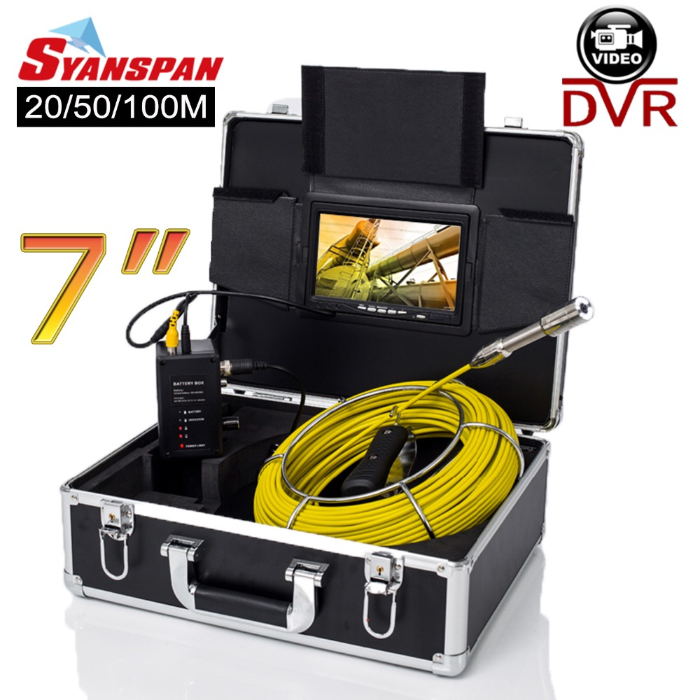 SYANSPAN 20/50/100M Pipe Inspection Video Camera, 8GB TF Card DVR IP68 Drain Sewer Pipeline Industrial Endoscope with 7 Monitor dhl free wp90 50m industrial pipeline endoscope 6 5 17 23mm snake video camera 9 lcd sewer drain pipe inspection camera system