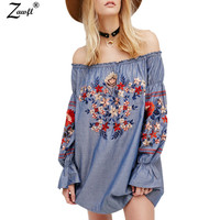 ZAWFL 2019 Women high quality luxury runway sexy Off The Shoulder Embroidery Dress
