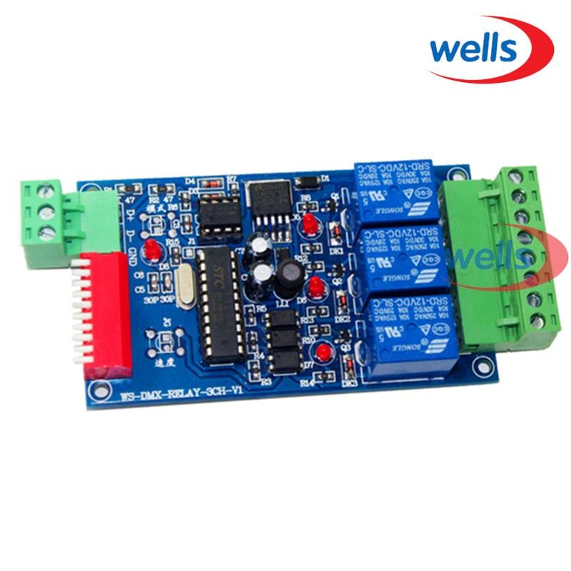 Velkoobchod 3CH DMX 512 RELÉ VÝSTUP, LED dmx512 řídicí deska, LED DMX512 dekodér, reléový přepínač