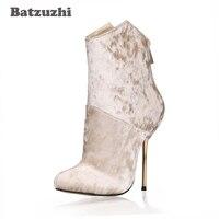 Batzuzhi 2018 New Luxury Handmade Women Shoes 12.4cm Iron Heels Pointed Toe Gold Diamond Velvet Zip Women Boots, Size 35 43