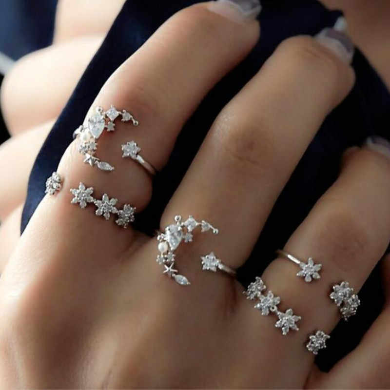 34 Style Starry night shining Vintage Knuckle Rings for Women Boho Geometric Flower Crystal Ring Set Bohemian Finger Jewelry