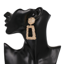 JUJIA Fashion Punk Gold Metal Dangle Earrings For Women Statement Jewelry Geometric Big Drop Earrings