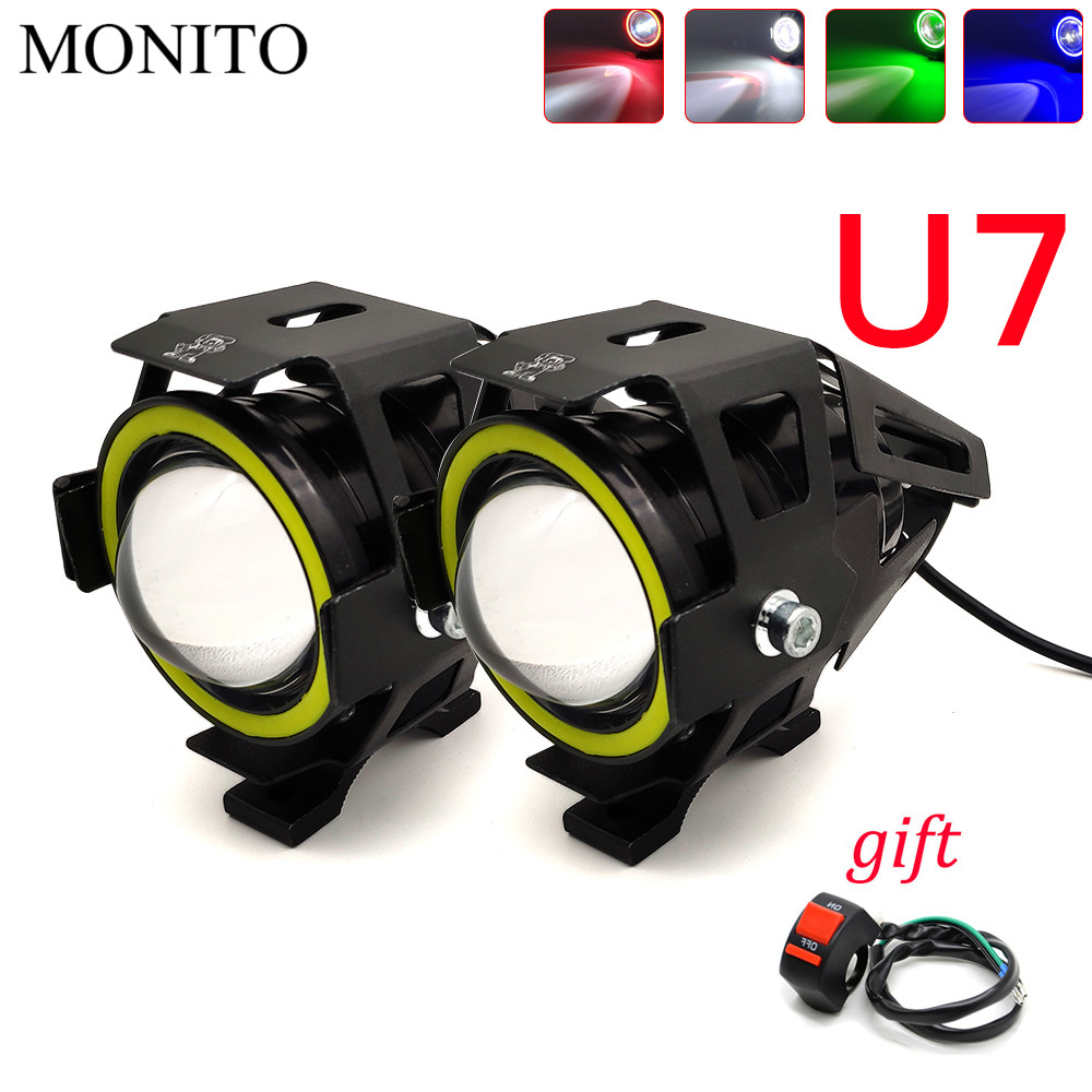125W U7 LED Motorcycle Headlight Angel Eyes Driving Head Lamp Fog Light For YAMAHA mt07 mt09 fz07 fz09 mt/fz 07 09 mt10 xsr 700
