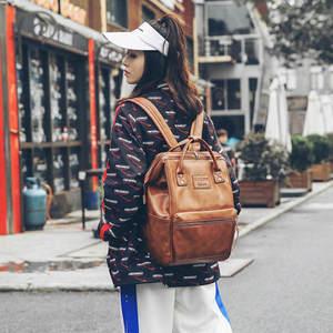 Image 1 - Women Fashion PU Leather Female Backpack Bag Korean Multifunction School Bag Teenage Girls Large Capacity Waterproof Backpacks
