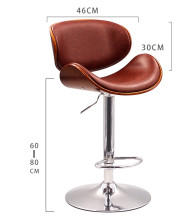 Height Adjustable Modern Swivel Bar Stool Walnut Bentwood PU Leather Seat and Back Home Cafe Stool For Pub Mini Bar Furniture modern adjustable swivel salon massage spa seat tattoo medical chair stool leather seat and back massage swivel chair furniture