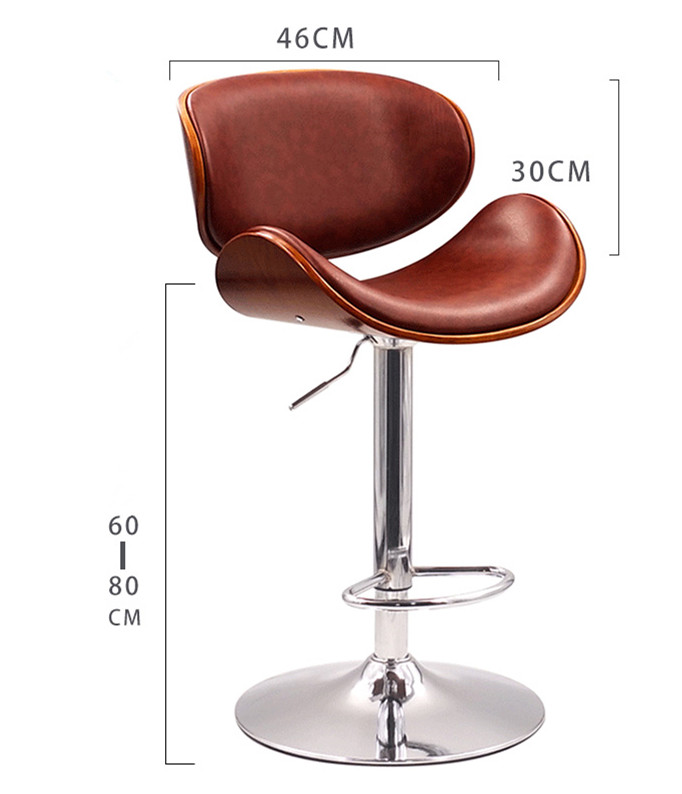 Modern Bar stool Adjustable Height Swivel Walnut Bentwood PU Leather Seat and Back Home Cafe Stool For Pub Mini Bar Furniture seat height 60cm swivel bar stool chair upholstered seat back mahogany finish coffee cafe kitchen bar furniture chair stool