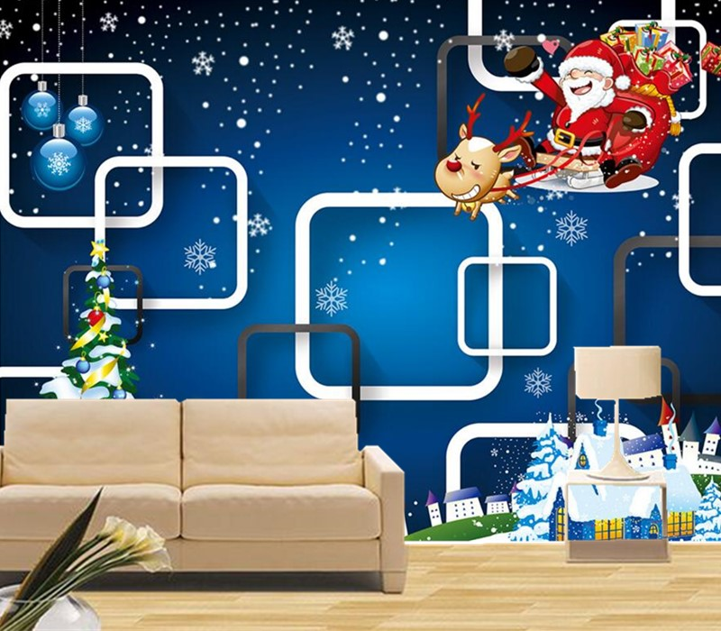 цены Custom 3D murals,3 d Santa Claus papel de parede,hotel restaurant bar living room sofa tv wall children's bedroom wallpaper