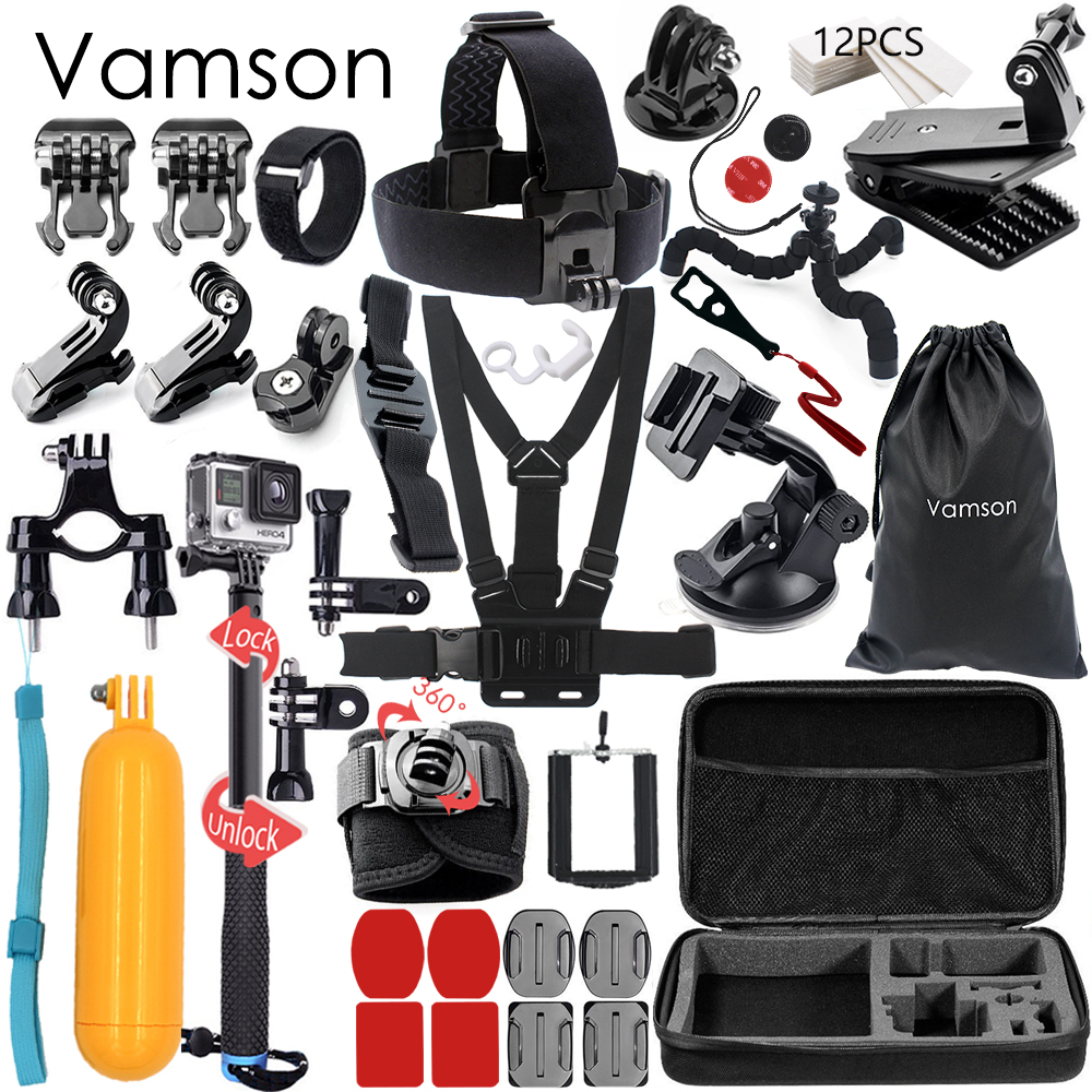Vamson for Gopro Hero 6 5 Accessories Set Large Collection Box Monopod for Gopro hero 5