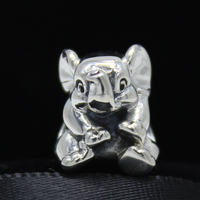 ROCKART 925 Sterling Silver Lucky Elephant Charm Fits European Brand Bracelet Necklace Jewelry Making DIY
