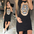 2016 New Sexy Club Party Dress Casual Sleeveless Letter Print Women Dresses Fashion Elegant Slim Solid Color Summer Long Dress