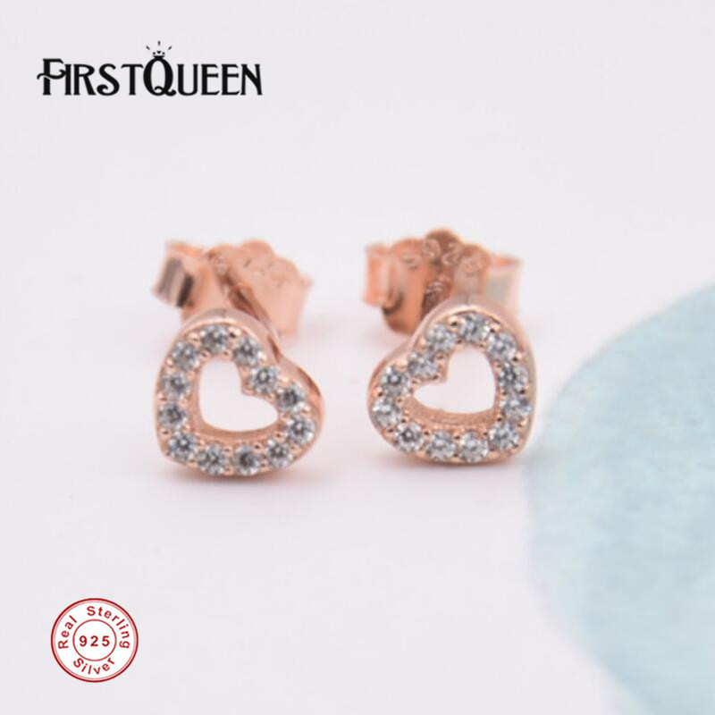 FirstQueen Captured Hearts, Gold Rose & Clear CZ Stud