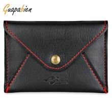 Guapabien Fashion Envelop Wallet PU Leather Creedit Card Holder Man Wallet Hasp Women Men Soft ID Card Purses Bag Solid Color