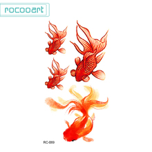 2pcs 3D Temporary Tatoo Stickers Cute Goldfish Colorful Taty Body Art Makeup Fake Flash Tattoos Sticker