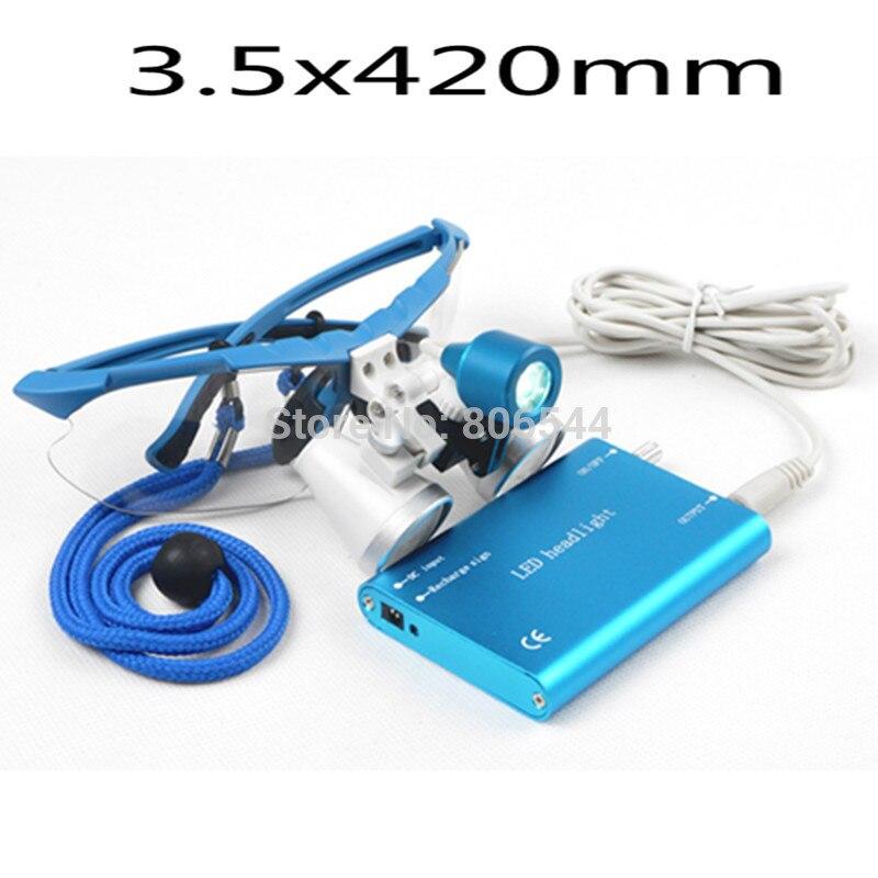 ФОТО Hot Sale! G7 Dental Equipment Surgical dental glasses 3.5X 420mm +LED Head Light Lamp dental lab BLUE AA+  Medical dental Loupes