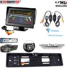 Koorinwoo Auto senza fili Auto UE License Plate Frame HD Impermeabile del CCD di parcheggio di Inverso di Retrovisione Specchio Monitor LCD Sistema di Telecamere