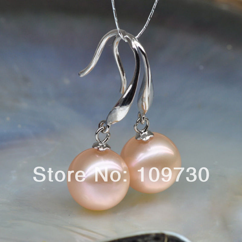 Ry00197 femme AAA 11-12mm rose ronde Naturelle Akoya perle Boucles D'oreilles 925 argent