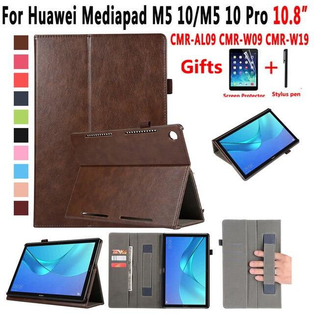 Cao cấp Da Trường Hợp đối với Huawei Mediapad M5 10 Pro 10.8 CMR-W19 CMR-W09 CMR-AL09 Bìa Thông Minh Trường Hợp đối với Huawei Mediapad M5 10.8