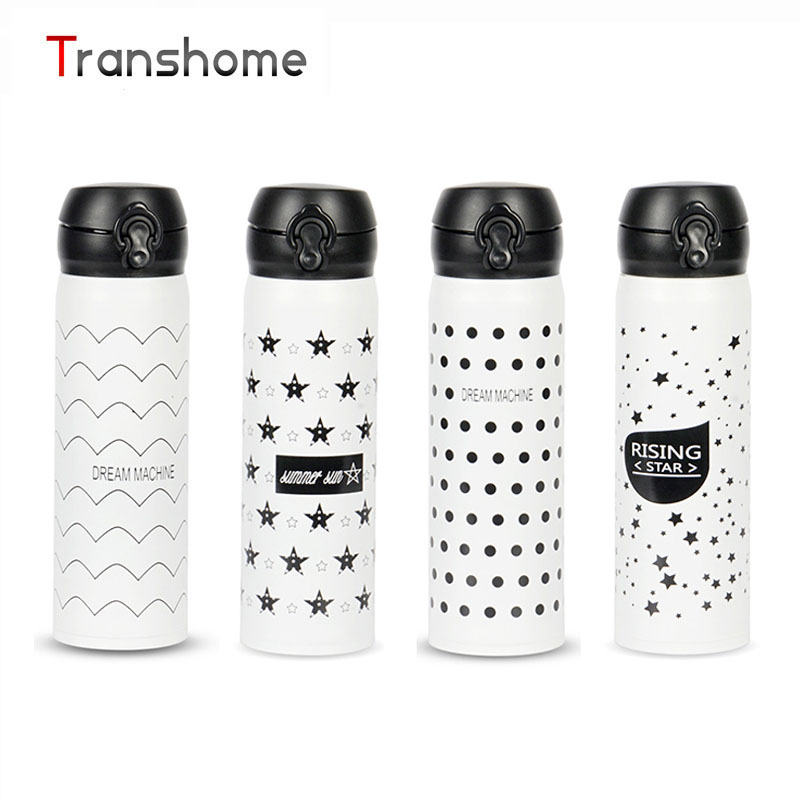 TRANSHOME Black White 500ML Vacuum Insulated Thermos Bottle for Stainless steel Outdoor Leak proof Coffee Tea
