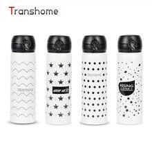TRANSHOME Black & White 500 ML Vakuumisolierte Thermosflasche für edelstahl Außen dicht Kaffee Tee Thermoskanne tasse