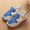 2016 primavera y el verano nueva moda Coreana zapatos para niños y niñas sandalias de malla transpirable hueco sandalias de playa bebé