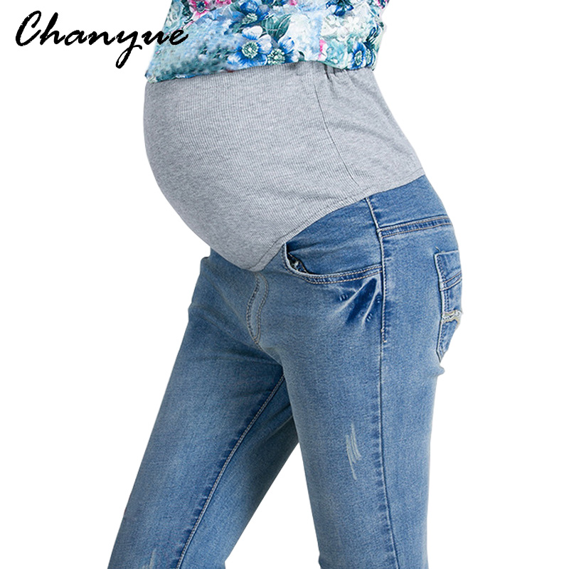 Chanyue Maternity Pants Pregnant Mom Jeans pencil Pants Spring Autumn Casual maternity clothes Women denim Trousers  2 Color