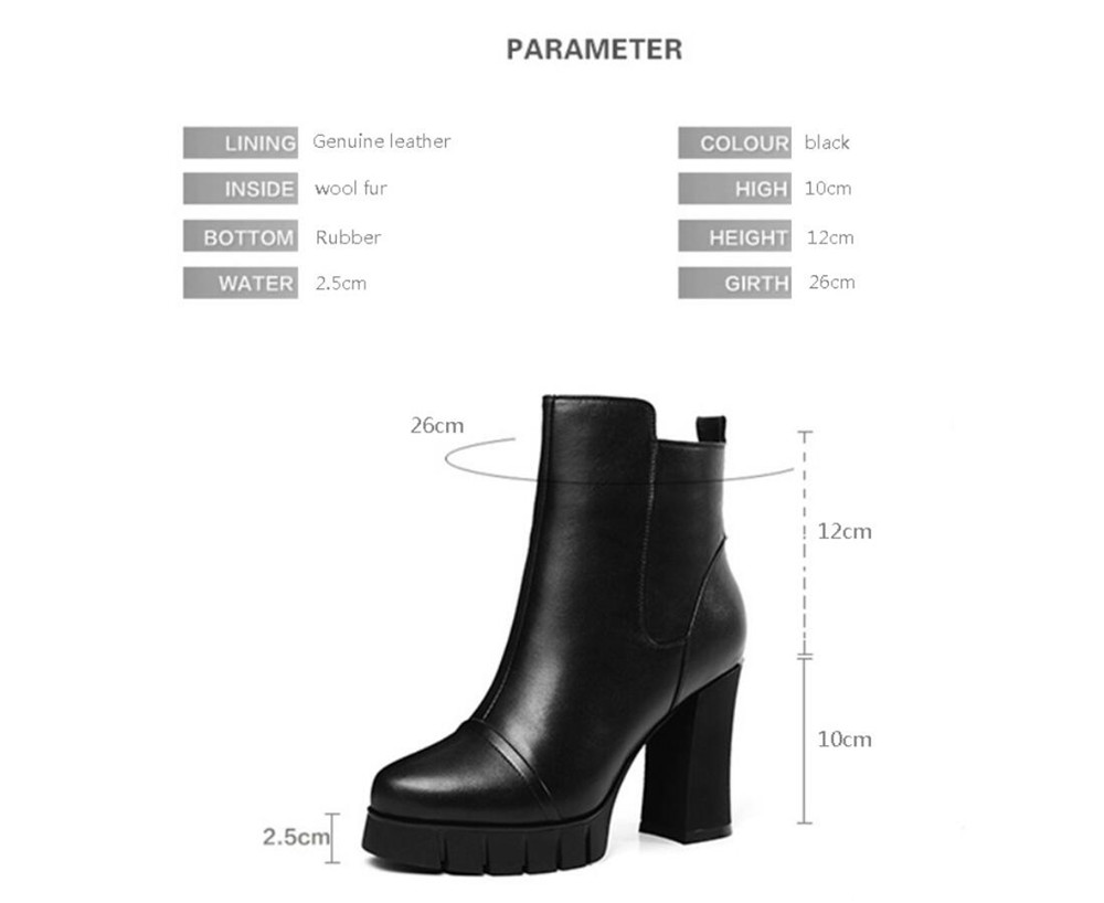 03d14996f Mujeres Zapatos Black Negro Lana Plataforma Cuero Botas Tj10 Muyisexi  Invierno Genuino Cremallera Cm Fur Wool Caliente 10 Botines Tacones 1cgdFBqc