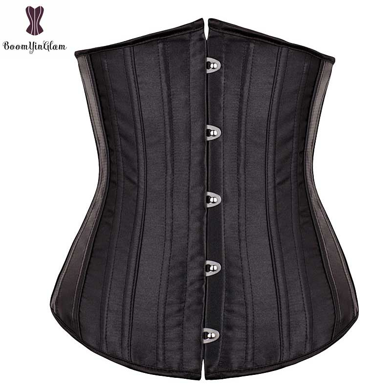 26 Spiral Steel Boned Satin Underbust   Corset   Solid Women   Corsets   Good Quality Outfit Gothic   Bustier   Sexy Women Black Skin Korset