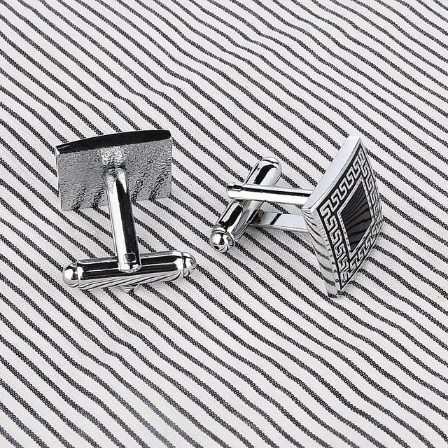 Luxury Laser Pattern Gemelos Shirt Cufflinks Mens Silver Plated Cuff Buttons Links High Abotoaduras Jewelry