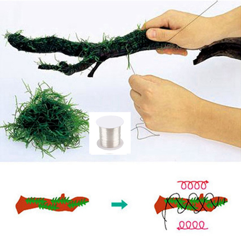 120M Water Grass Binding Line DIY Super Strong Transparent Nylon Water Grass Aquatic Live Plant Float Moss Line String Aquarium