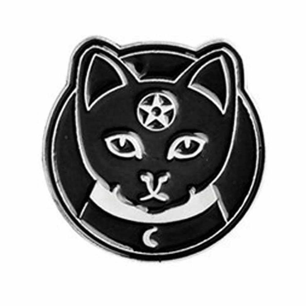 Punk Penyihir Peti Mati Kucing Pesan Enamel Unisex Bros Pin Halloween Pagan
