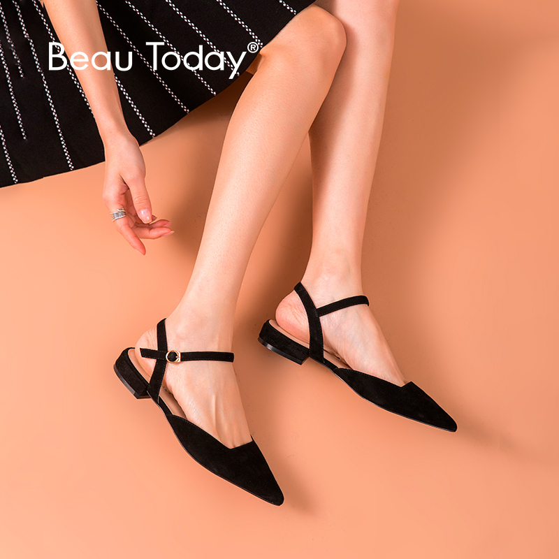 BeauToday Flat Sandals Women Genuine Leather Kid Suede Pointed Toe Buckle Strap Ladies Summer Shoes Handmade