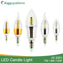 Kaguyahime 1Pcs/6Pcs Candle E14 LED Lamp 220V 7W 9W 12W Golden Silver Aluminum Bulb Light For Crystal Chandelier Lampara Ampoule(China)