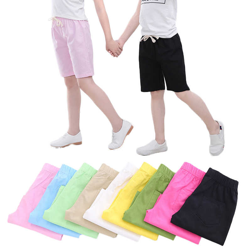 2-10 Yrs Kids Boys Trousers Knee Lenth Shorts Candy Color Girls Children Summer Beach Loose Shorts Pants Cotton&Linen