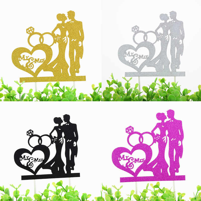1pc Mr & Mrs Wedding Cake Topper Love Heart Diamond Cake Flags Bride Groom Wedding Party Cake Baking Decor Engagement Cake Flags