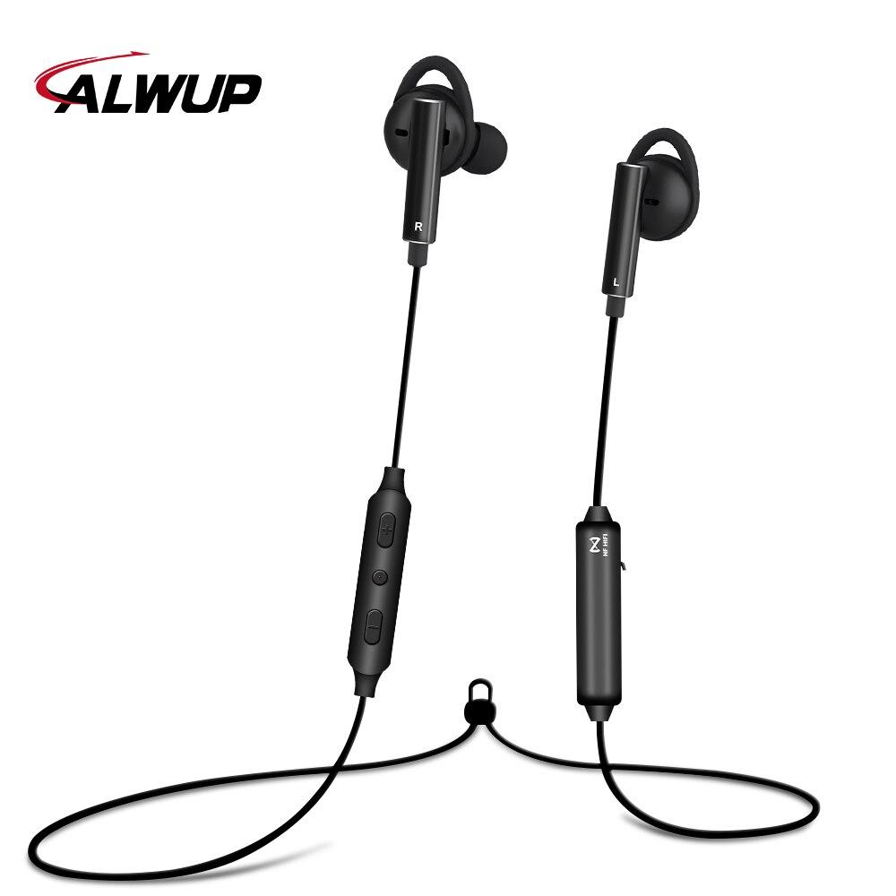 ALWUP cancelamento de ruído Ativo Esporte fone de Ouvido Bluetooth esportes Sem Fio Fones De Ouvido Oi-Res CSR8645 ANC com Microfone do fone de ouvido para o telefone