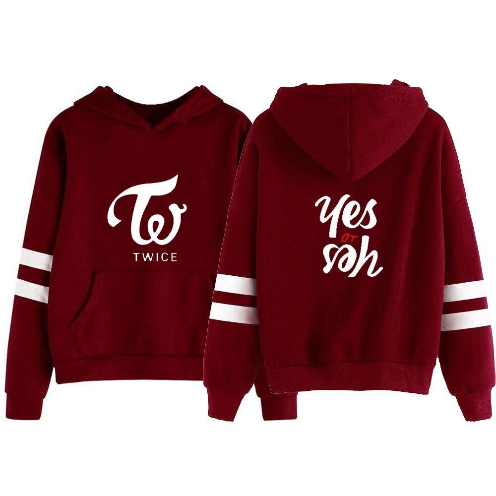 New Fashion Hoodie Kpop TWICE Return To The New Album Yes Or Yes Sweatshirt Women Pullover Tops Hip Hop Harajuku  Streetwear