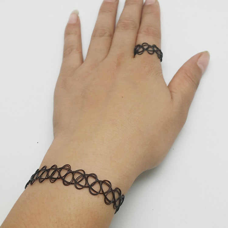 (1 chiếc/Bán) chúc Bình Cổ Chokers Vòng Cổ Xu Hướng Vintage Co Giãn Henna Gothic Punk Thun nữ Trang Sức Dành Cho Bé Gái