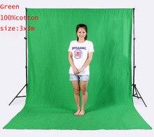 2X3เมตรP ROภาพสตูดิโอ100%บริสุทธิ์มัสลินพับฉากหลังพื้นหลังสำหรับการถ่ายภาพวิดีโอโทรทัศน์-สีเขียว
