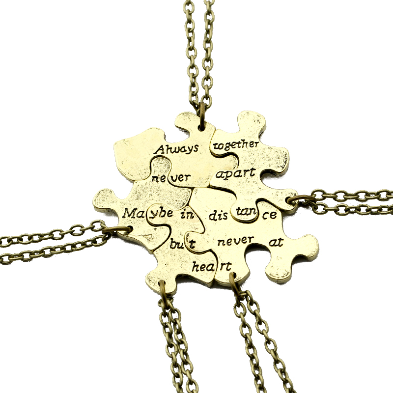 5 pcs / set Vintage Interlocking Jigsaw Puzzle BFF Rantai Best Friends Forever Loket & Kalung Retro Link Rantaian Perhiasan