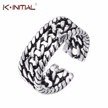 Kinitial Double Twist Chain Design Rings Thailand Silver Jewelry 925 Silver Ring for Women Adjustment Finger Multilayer Rings(China)