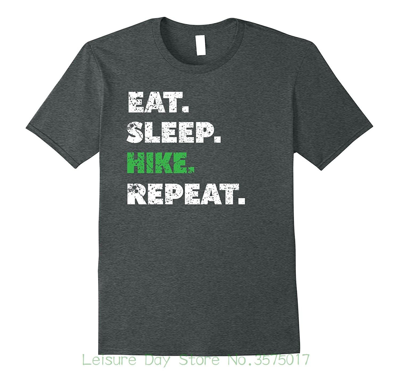 Round Neck Teenage Pop Top Tee Christmas Hiker Gifts Eat Sleep Hike Repeat Graphic T-shirt