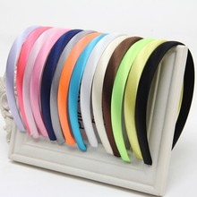 Girls 1.0cm Head Hoop Hair Clasp For Women Colored Satin Covered Resin Hairbands Ribbon HeadBand Accessory 5pcs/lot