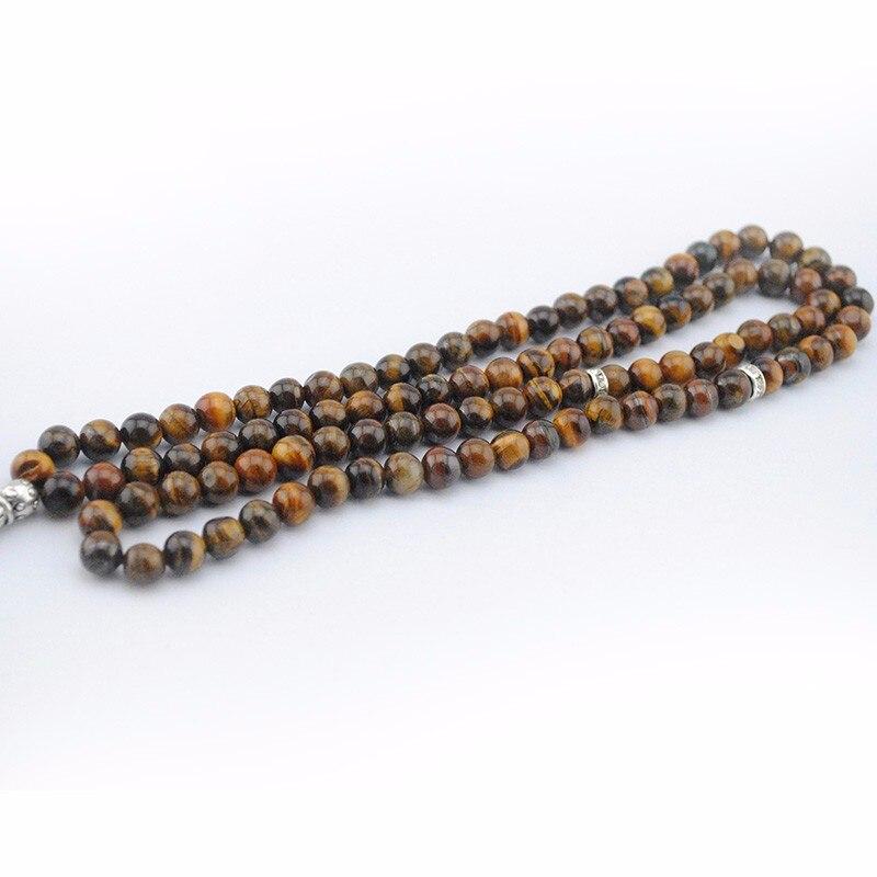 Alami 99 manik-manik mata harimau coklat batu bulat, Bentuk 6 8 mm - Perhiasan fashion - Foto 3