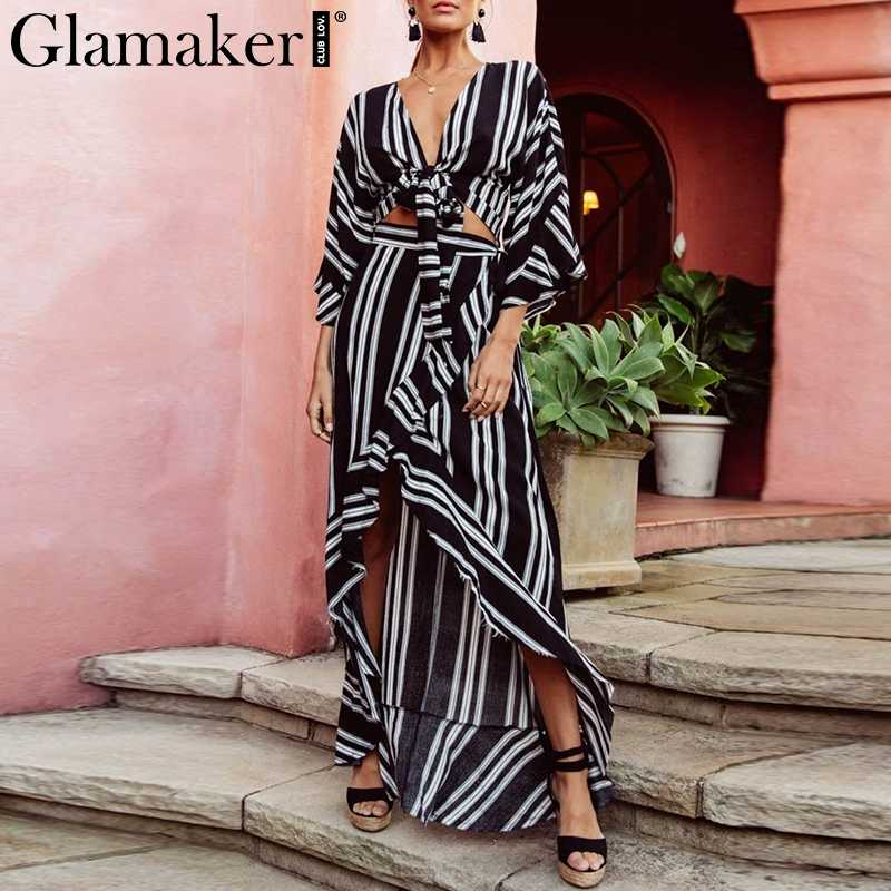 Glamaker Boho striped lace up beach dress Women v neck two-piece suit maxi  dress