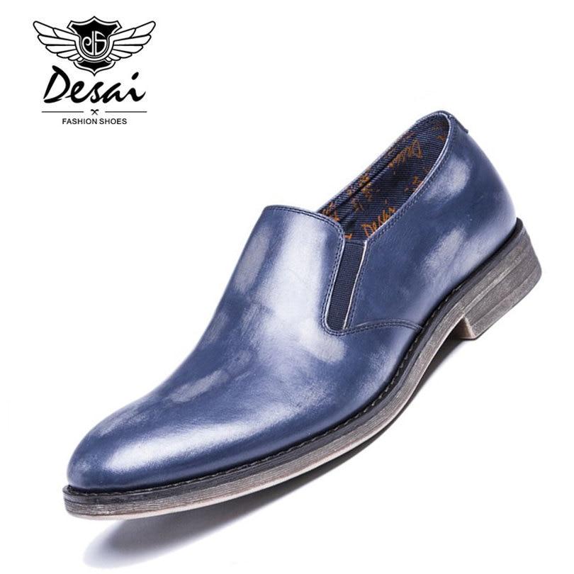 DESAI Brand European Design Blue Patent Genuine Leather Men Shoes Slip On Trend Urban Flat Casual Shoes Size 38-43 smartbuy urban trend