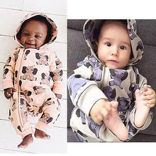 Kids Girls Elephant Print Hooded Baby Boys Zipper Romper Jumpsuit Clothing Outfits