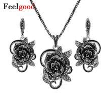 Feelgood Nuevo Diseño Plateado Plata Joyería de la Manera de La Vendimia Negro Flor Colgante de Cristal Collar Y Pendientes Establecidas